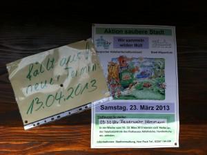 Achtung! Neuer Termin für Müllsammelaktion ist der 13. April 2013