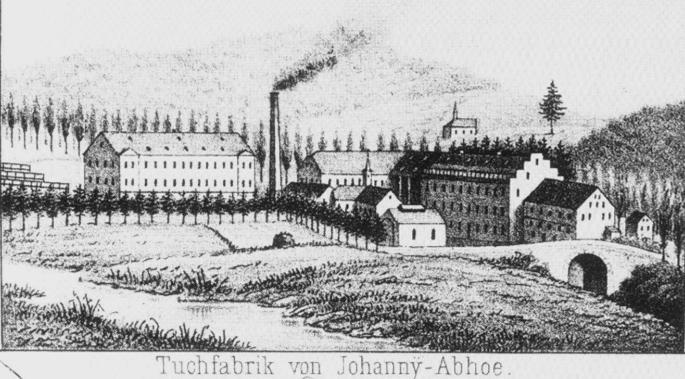 """Das Wohnhaus """"an den Hämmern"""" (zwischen der Brücke und der Fabrik) 1864 (Original im Heimatmuseum Hückeswagen)."""