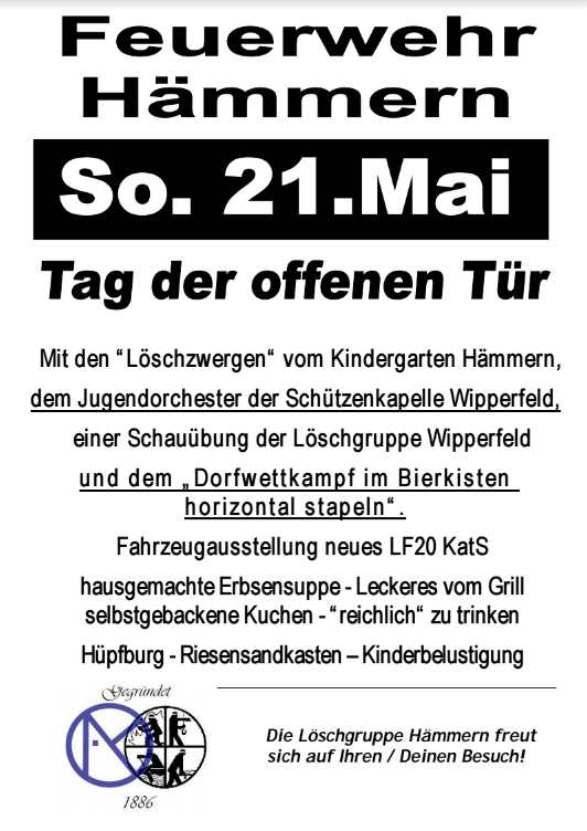 Feuerwehr Hämmern So. 21. Mai Tag der offenen Tür